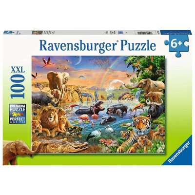 RAVENSBURGER USA SAVANNAH JUNGLE WATERHOLE 100 PC PUZZLE