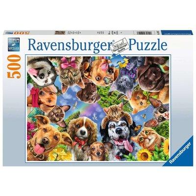 RAVENSBURGER USA ANIMAL SELFIE 500 PC PUZZLE