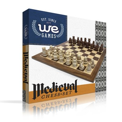 WOOD EXPRESSIONS MEDIEVAL CHESS SET WITH BOARD