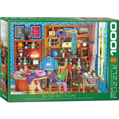 EUROGRAPHICS ALL YOU KNIT IS LOVE 1000 PC PUZZLE