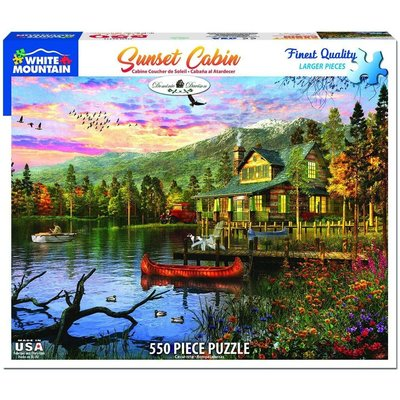 WHITE MOUNTAIN PUZZLE SUNSET CABIN 550 PC PUZZLE