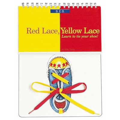 BARRONS RED LACE YELLOW LACE LEARN TO TIE SHOES BK