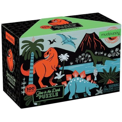 MUDPUPPY GLOW IN THE DARK DINOSAURS PUZZLE 100 PC