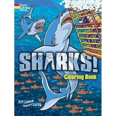 DOVER PUBLICATIONS ANIMAL COLORING BOOKS SHARKS