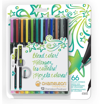 CHAMELEON KIDZ CHAMELEON FINELINERS 12 PACK BRIGHT COLORS