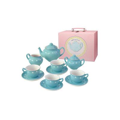 BRIGHT STRIPES PORCELAIN TEA SET ROBINS EGG BLUE