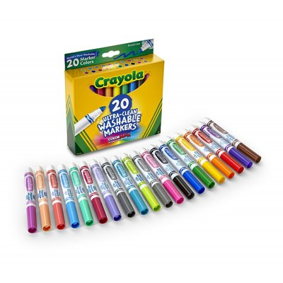 CRAYOLA WASHABLE BROADLINE MARKERS 20 COUNT