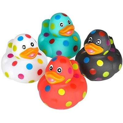 RHODE ISLAND NOVELTY POLKA DOT RUBBER DUCK 2""