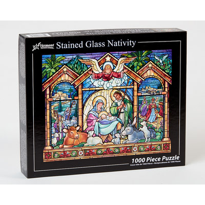 VERMONT CHRISTMAS COMPANY STAINED GLASS NATIVITY 1000 PC PUZZLE