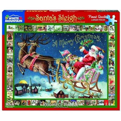 WHITE MOUNTAIN PUZZLE SANTAS SLEIGH 1000 PC PUZZLE