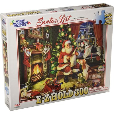 WHITE MOUNTAIN PUZZLE SANTAS LIST E-Z HOLD 300 PIECE