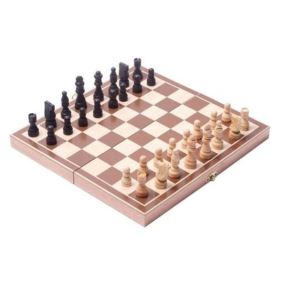 WOOD EXPRESSIONS WOODEN FOLDING CHESS SET