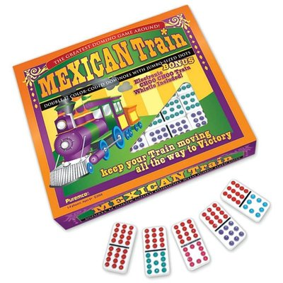 UNIVERSITY GAMES MEXICAN TRAIN DOMINOES WITH DOTS DOUBLE 12