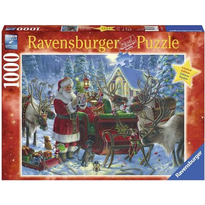 RAVENSBURGER USA PACKING THE SLEIGH 1000 PC PUZZLE
