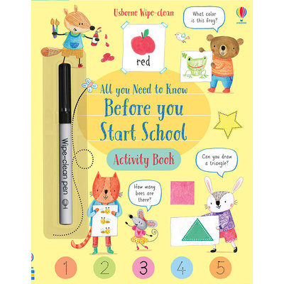 USBORNE ALL YOU NEED TO KNOW BEFORE YOU START SCHOOL WIPE CLEAN ACTIVITY BOOK