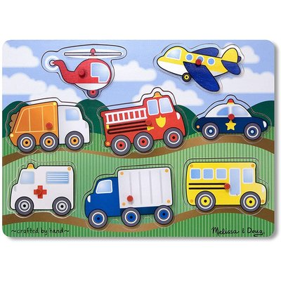 MELISSA AND DOUG PEG PUZZLE VEHICLES