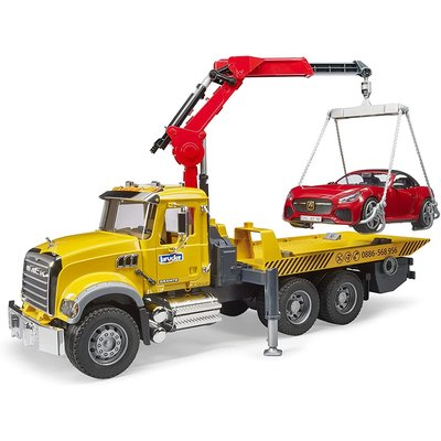 BRUDER TOYS AMERICA MACK GRANITE TOW TRUCK WITH ROADSTER