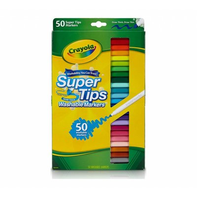 CRAYOLA 50 WASHABLE SUPER TIPS MARKERS