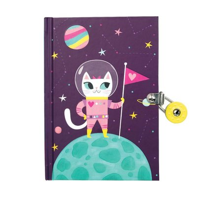 MUDPUPPY SPACE CAT LOCKED DIARY