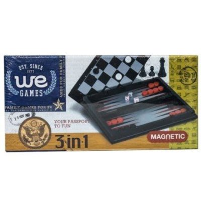 WOOD EXPRESSIONS 3 IN 1 MAGNETIC TRAVEL GAME SET