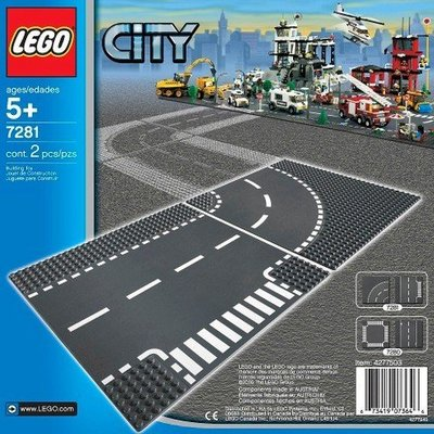 LEGO T-JUNCTION & CURVED ROAD PLATES