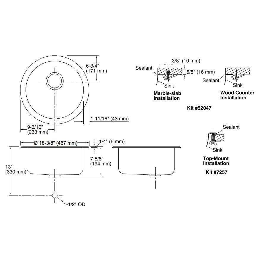 Kohler K3341 Undertone Lyric 18 Diameter Single Circular Bowl Kitchen Sink Builder Supply