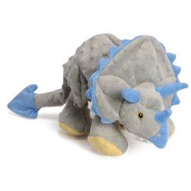 GO DOG GoDog Dinos Chew Guard Frills Triceratops Dog Toy, Gray