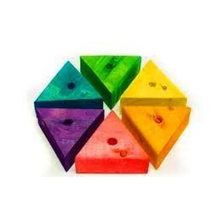 Triangle Wood Block 2 X 1 1/2 (drilled/dyed) nn