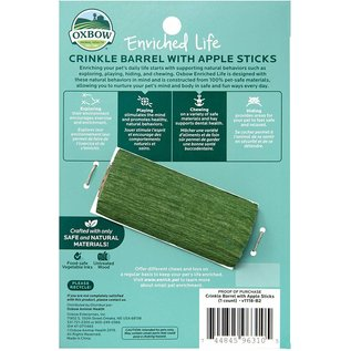 OXBOW OXBOW SMALL ANIMAL ENRICHED LIFE CRINKLE BARREL W. APPLE STICKS