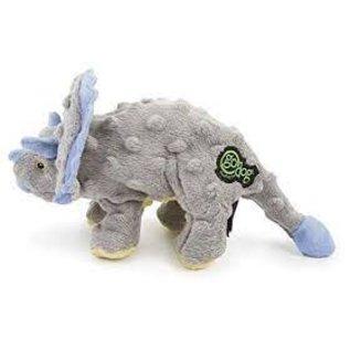 GO DOG GoDog Dinos Chew Guard Frills Mini Triceratops Dog Toy, Gray