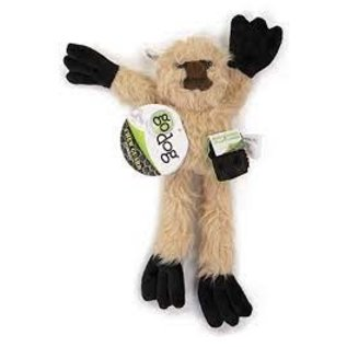 GO DOG GoDog Crazy Tugs Sloths with Chew Guard Technology Durable Plush Squeaker Dog Toy Tan