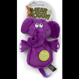 GO DOG Hear Doggy Silent Squeaker Chew Guard Flattie Elephant Dog Toy