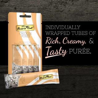 Fussie Cat Chicken Puree Treat Tube 4 Pack