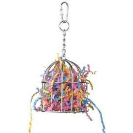 SUPERBIRD CREATIONS Super Bird Creations 6-1/2 by 3-Inch Mini Stainless Steel Treat Cage Bird Toy Filled With Paper, Small