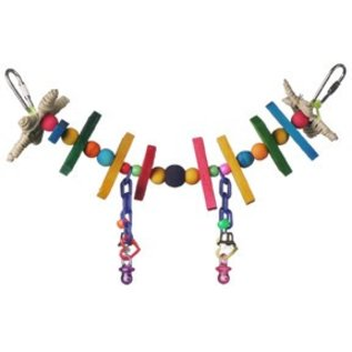 SUPERBIRD CREATIONS Super Bird Creations 2 by 11-Inch Mini Rainbow Bridge Bird Toy, Small