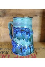 Mudbug Creations Stein - Blue & Green Drizzle
