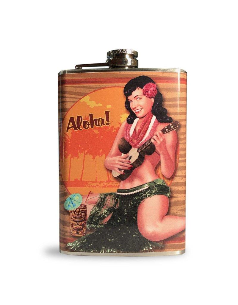 Retro-a-go-go Bettie Page Aloha Tiki Flask