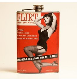 Retro-a-go-go Bettie Page Flirt Flask - 8 oz