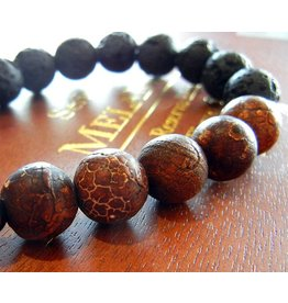 My Gigi's House Beads Bracelet - Coffee Fire Agate & Lava Beads