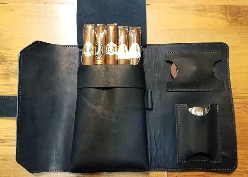 Lombardos Leather Navy Cigar Case