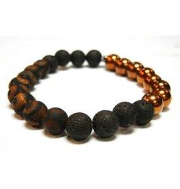 My Gigi's House Beads Bracelet - Handpainted Agate & Hematite W/ Lava