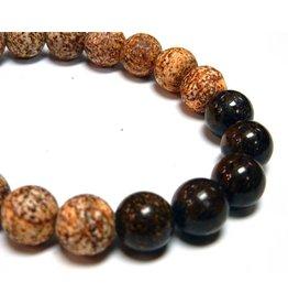 My Gigi's House Beads Bracelet - Matte Agate & Bronzite