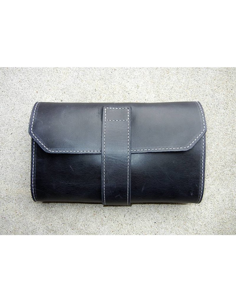 Lombardos Leather Black With White Stitching Cigar Case