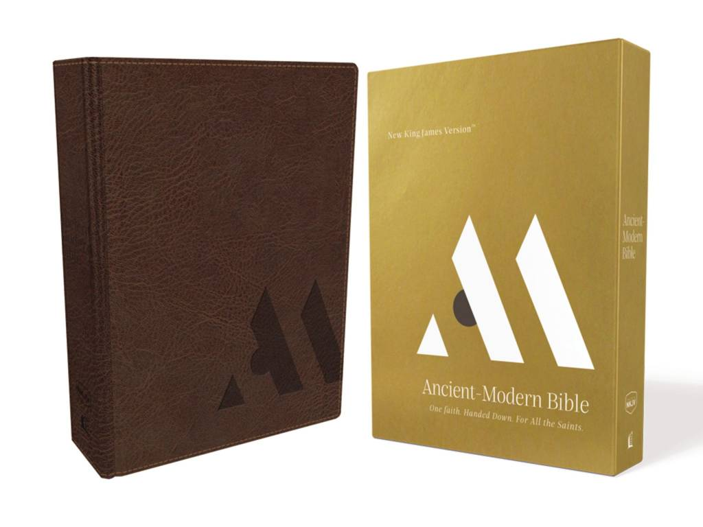 NKJV, Ancient-Modern Bible, Leathersoft, Brown, Comfort Print