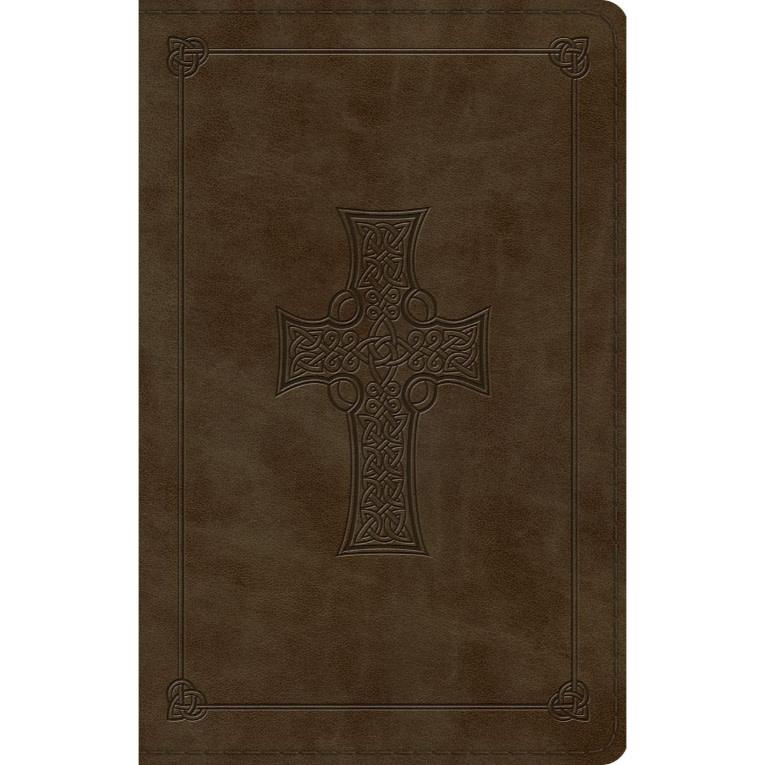 ESV Large Print Value Thinline Bible Olive Celtic Cross