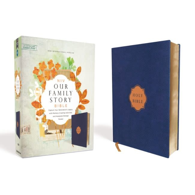 NIV, Our Family Story Bible, Leathersoft over Board, Navy, Red Letter Edition, Comfort Print
