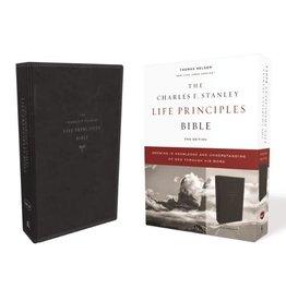 NKJV, Charles F. Stanley Life Principles Bible, 2nd Edition, Leathersoft, Black, Comfort Print