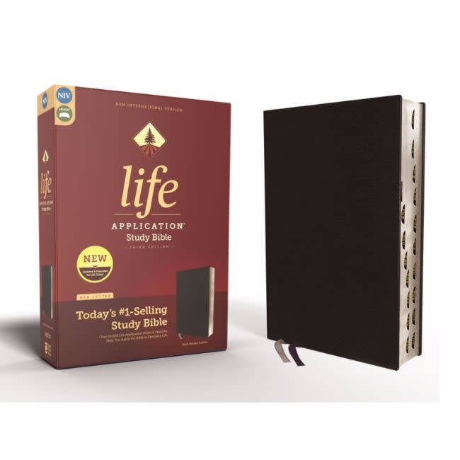 NIV, Life Application Study Bible, Third Edition, Bonded Leather, Black, Indexed, Red Letter Edition