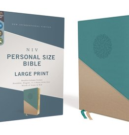 NIV, Personal Size Bible, Large Print, Leathersoft, Teal/Gold, Red Letter Edition, Comfort Print