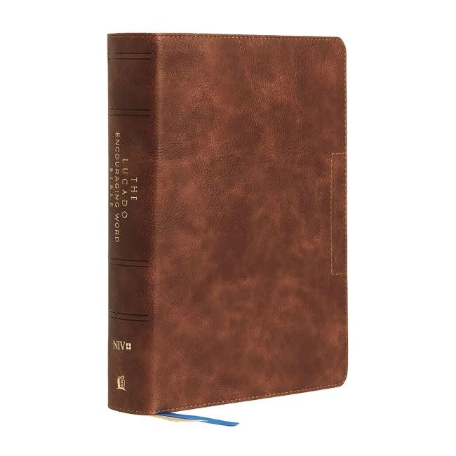 The Lucado Encouraging Word Bible - Brown Leathersoft